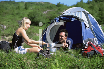 Royalty Free Photo of a Couple Camping