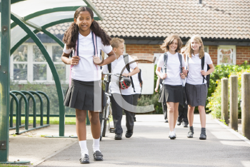 Royalty Free Photo of Students Leaving School