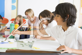 Royalty Free Clipart Image of Students in Art Class