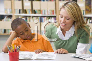 Royalty Free Clipart Image of a Student in Class Reading With a Teacher