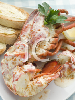 Royalty Free Photo of Lobster Newburg with Toast and Lemon