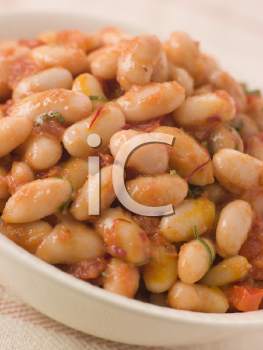 Royalty Free Photo of Saffron and Tomato Braised Cannellini Beans
