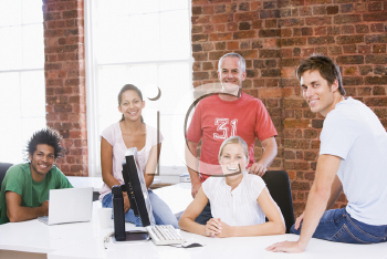 Royalty Free Photo of Five People in an Office