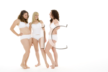 Royalty Free Photo of Three Women in Their Underwear