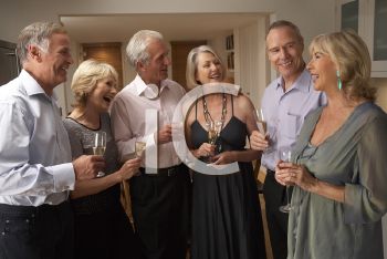 Royalty Free Photo of Friends Having Champagne at a Dinner Party