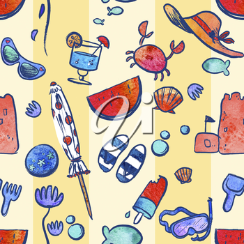 Repeating Pattern Illustration Of Beach And Vacation Icons