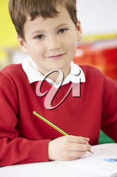 Male Pupil Practising Writing At Table