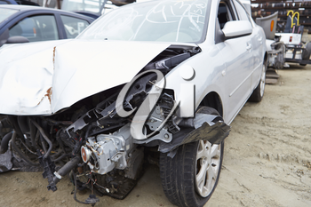 Damaged Car Involved In Traffic Accident