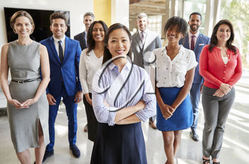Asian businesswoman and her business team, group portrait