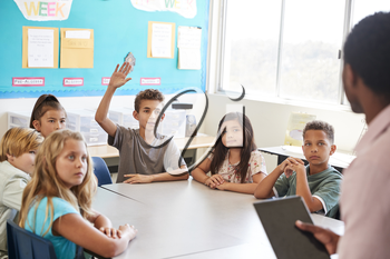 Schoolboy raising hand to answer in elementary school class