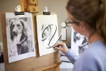 Rear View Of Female Teenage Artist Sitting At Easel Drawing Picture Of Dog From Photograph In Charcoal