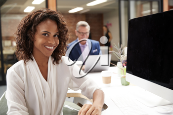 Portrait Of Businesswoman Working On Computer In Open Plan Office With Colleagues In Background