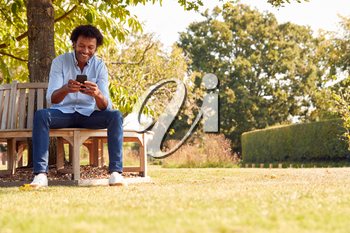 Mature Man Sitting On Bench Under Tree In Summer Park Using Mobile Phone