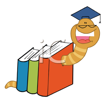 Royalty Free Clipart Image of a Worm in Books