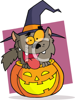 Royalty Free Clipart Image of a Werewolf in a Jack-o-Lantern