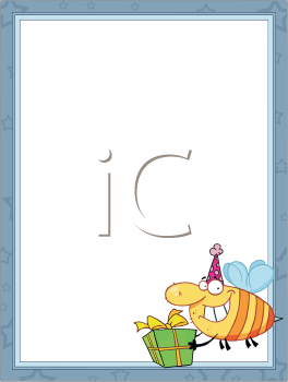 Royalty Free Clipart Image of a Frame With a Bumblebee in the Bottom Corner