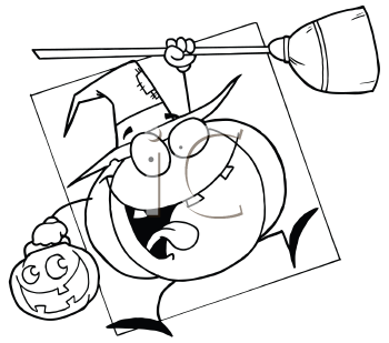 Royalty Free Clipart Image of a Pumpkin Trick or Treating Like a Witch