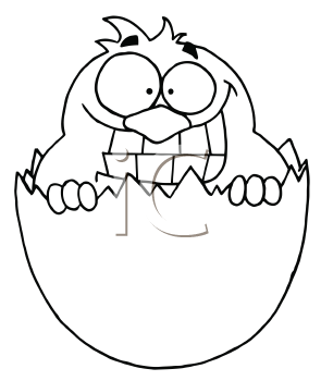 Royalty Free Clipart Image of a Chick in an Egg