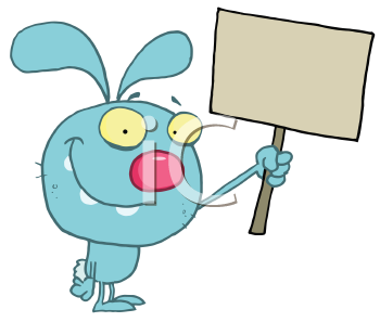 Royalty Free Clipart Image of a Bunny Holding a Blank Sign