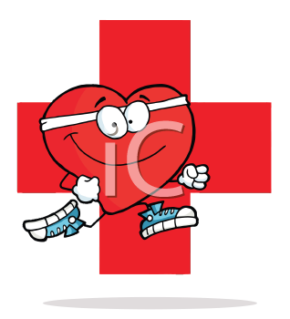 Royalty Free Clipart Image of a Heart in Front of a Red Cross