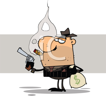 Royalty Free Clipart Image of a Mobster Holdiing a Gun and a Sack of Money
