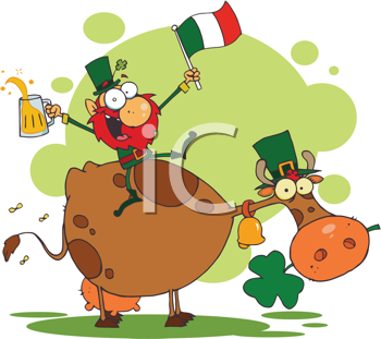 Royalty Free Clipart Image of a Leprechaun With a Beer and an Irish Flag on a Cow