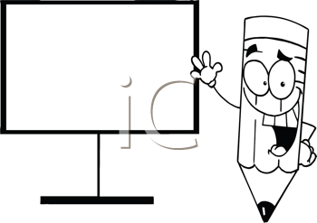Royalty Free Clipart Image of a Pencil With His Hand on the Board