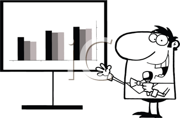 Royalty Free Clipart Image of a Man With a Chart Holding a Microphone