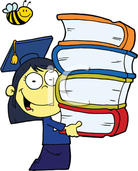 Royalty Free Clipart Image of an Asian Girl Graduating With a Stack of Books and a Bee Over Her Head