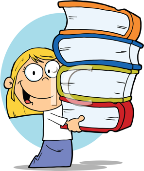 Royalty Free Clipart Image of a Girl Carrying Books
