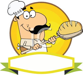 Royalty Free Clipart Image of a Baker With Bread
