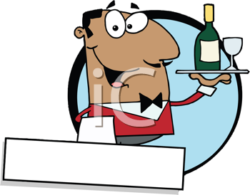 Royalty Free Clipart Image of a Guy Serving Wine