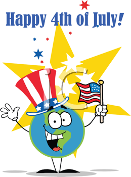 Royalty Free Clipart Image of a Happy 4th of July Greeting