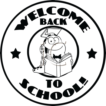 Royalty Free Clipart Image of a Bookworm Graduate Back to School
