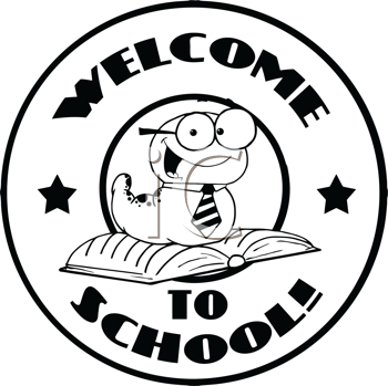 Royalty Free Clipart Image of a Bookworm on a Back to School Badge
