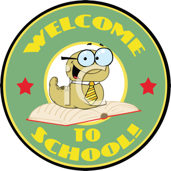 Royalty Free Photo of a Teacher Bookworm on a Welcome to School Badge