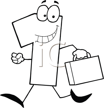 Royalty Free Clipart Image of a Travelling Number One