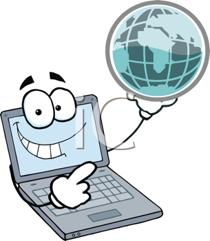 Royalty Free Clipart Image of a Computer Holding a Globe