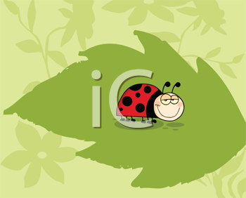 Royalty Free Clipart Image of a Ladybug on a Leaf