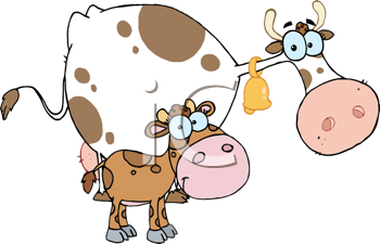 Royalty Free Clipart Image of a Mother Cow and Calf