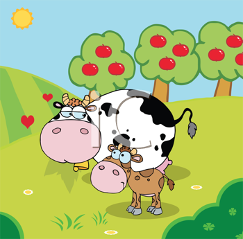 Royalty Free Clipart Image of a Cow and Calf in a Pasture