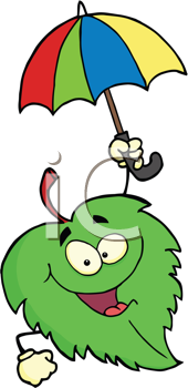 Royalty Free Clipart Image of a Leaf With an Umbrella