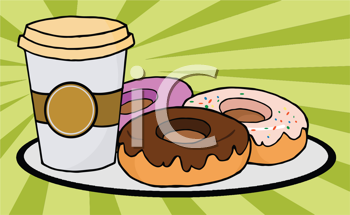 Royalty Free Clipart Image of a Coffee Cup and Plate of Donuts