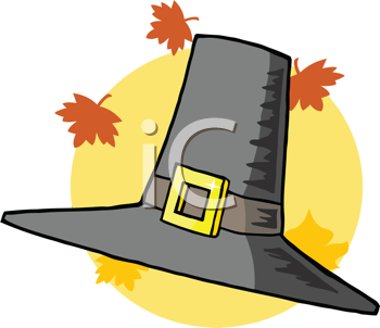Royalty Free Clipart Image of a Pilgrim Hat With Leaves