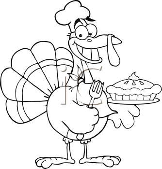Royalty Free Clipart Image of a Turkey With a Pie