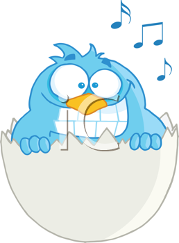 Royalty Free Clipart Image of a Singing Bluebird in an Eggshell