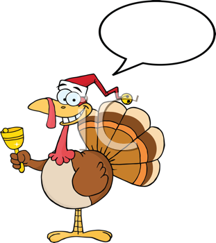 Royalty Free Clipart Image of a Turkey in a Santa Hat  With a Conversation Bubble Ringing a Bell