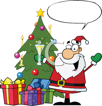 Royalty Free Clipart Image of Santa By a Tree With Champagne and a Speech Bubble