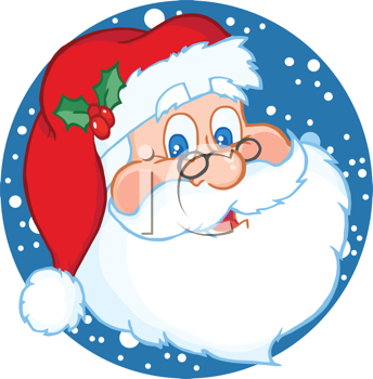 Royalty Free Clipart Image of Santa Against a Snowy Background
