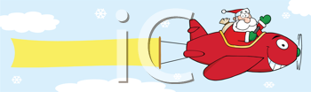 Royalty Free Clipart Image of Santa in a Plane With a Banner